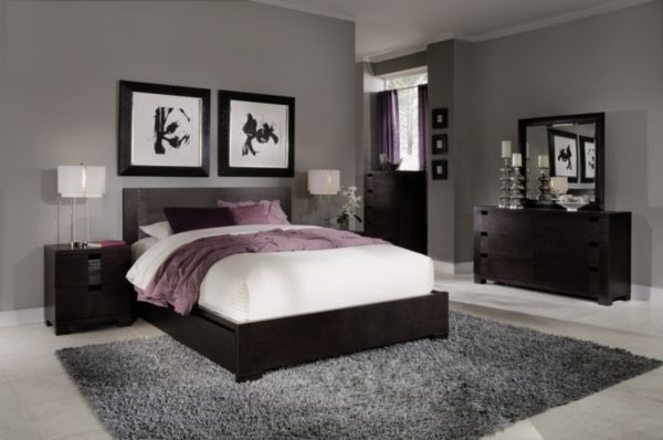 Grey walls, black furniture, pops of white and purple. LOVE this for master bedroom!