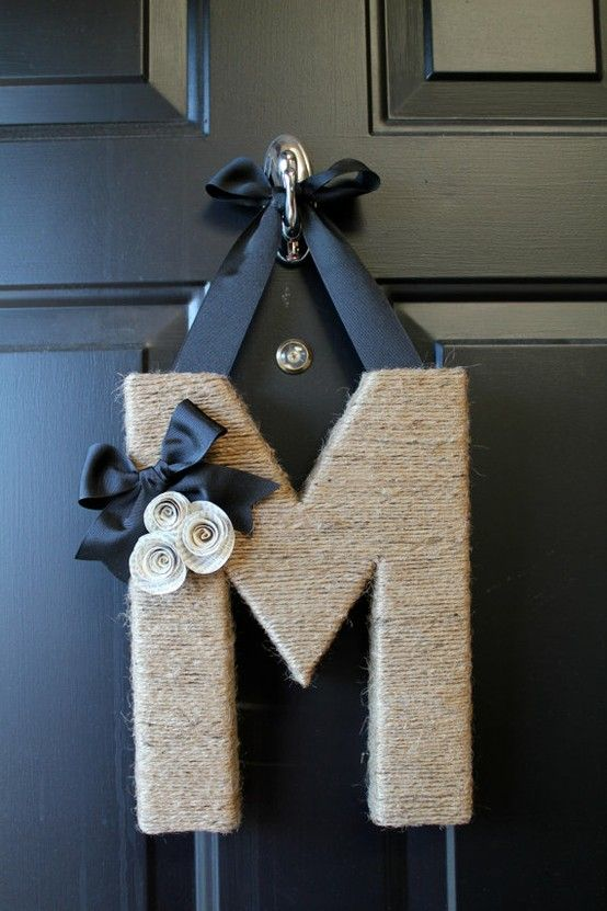 Monogram+wreath - Click image to find more DIY & Crafts Pinterest pins
