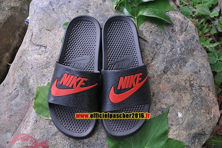 Officiel Nike Benassi JDI QS Nike sandales Pas Cher Pour Homme Noir - Rouge