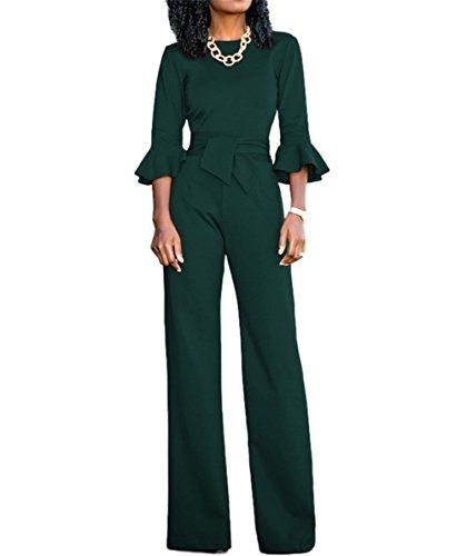 4dc9beaaa8c Voghtic Women s Elegant Solid Color O Neck Loose Pants Half Sleeve Jumpsuit  Romper with Belt