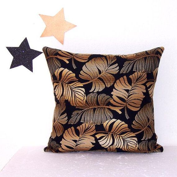 Gold Black Leaves Pillow Cover 16 Bronze Silver by PillowStars