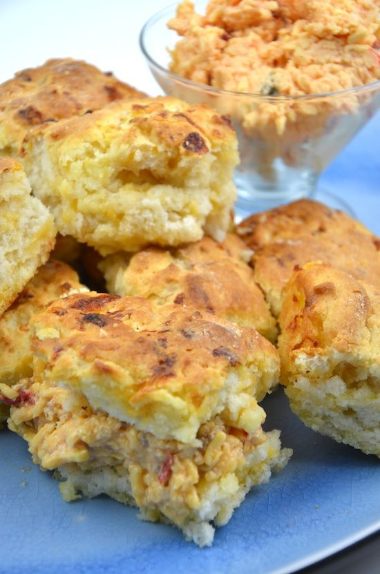 Pimento cheese biscuits. Cut one in half and filled it with Palmetto Cheese with Bacon. Yum!!
