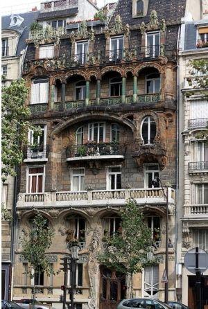Surrealist Trompe l'Oeil by Pierre Delavie who covered a building at 39 Avenue Beroge V, Paris with a vast painted canvcas!