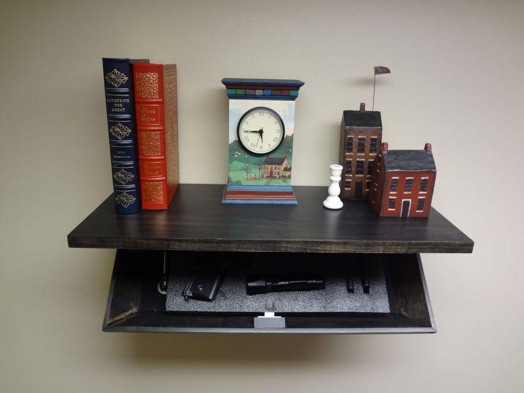 Secret Storage Shelf Ebony Finish with Hidden Magnetic Lock by ShelvesbyTim on Etsy