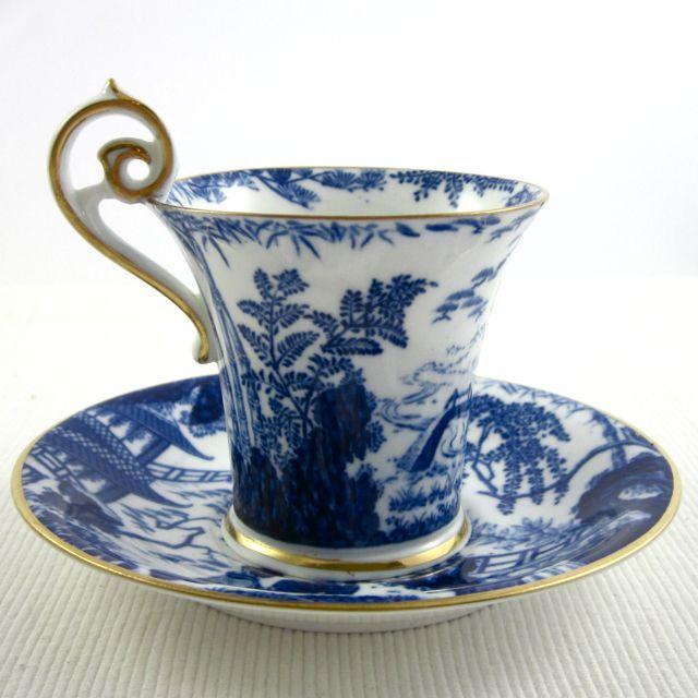 ROYAL CROWN DERBY 'Blue Mikado' circa 1916, demitasse cup and saucer