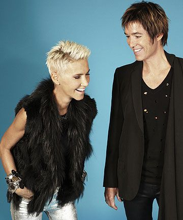 Gun-Marie Fredriksson (Roxette) with her trademark blonde crop and ridiculous voice!