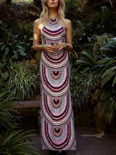 Multicolor Sleeveless Geometric Print Maxi Dress