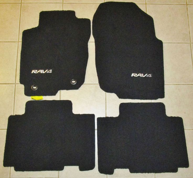 Set of 4 Toyota Rav 4 factory black floor matts PT-206-42130-XX Read Description #Toyota #rav4
