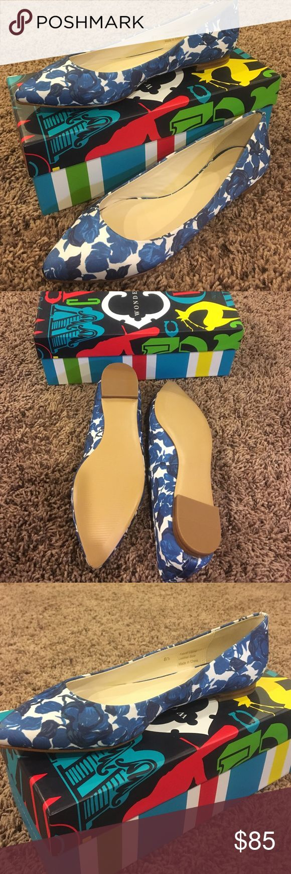C Wonder Pointed toe ballet flat Beautiful never worn blue and white flowered baller flat C Wonder Shoes Flats & Loafers