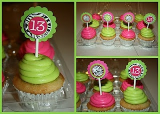 13th Zebra Print Cupcakes w/ green and purple instead of pink