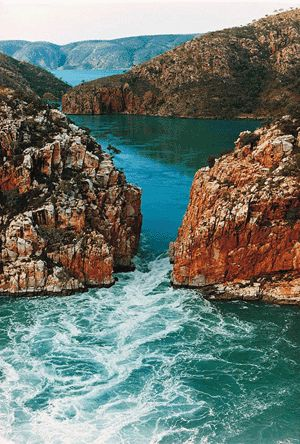 A horizontal, reversible waterfall at Talbot Bay is one of the most unusual of the attractions of Western Australia's Kimberley region.