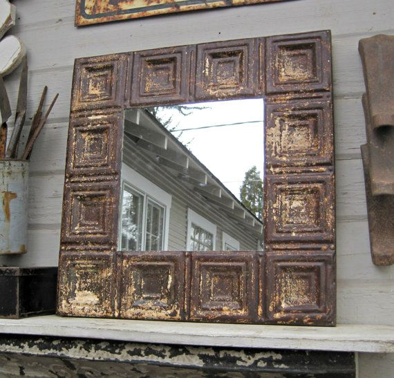 Vintage Ceiling Tin Wall Mirror. Architectural by DriveInService