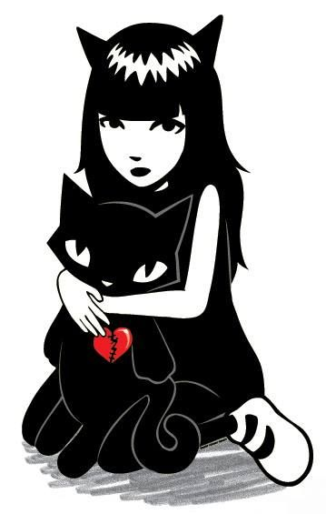 Emily and her black cat                                                                                                                                                      More