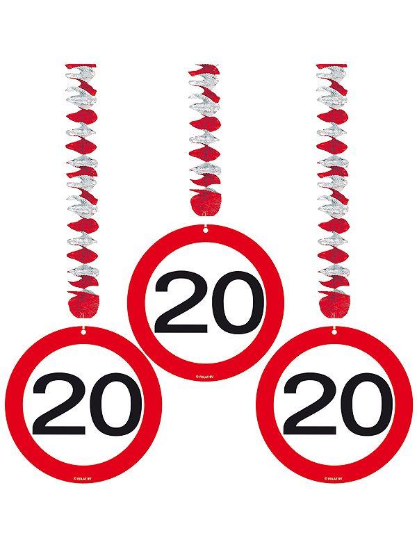 Rotorspiralen 20 jaar verkeersborden 3 stuks. Feestelijke decoratie rotorspiralen voor een 20e verjaardag of jubileum. U ontvangt drie stuks van deze stopborden.