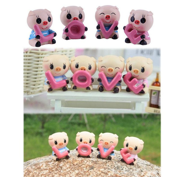 4 pcs set cute auto car interior resin pig love lovely for Pig decorations for home