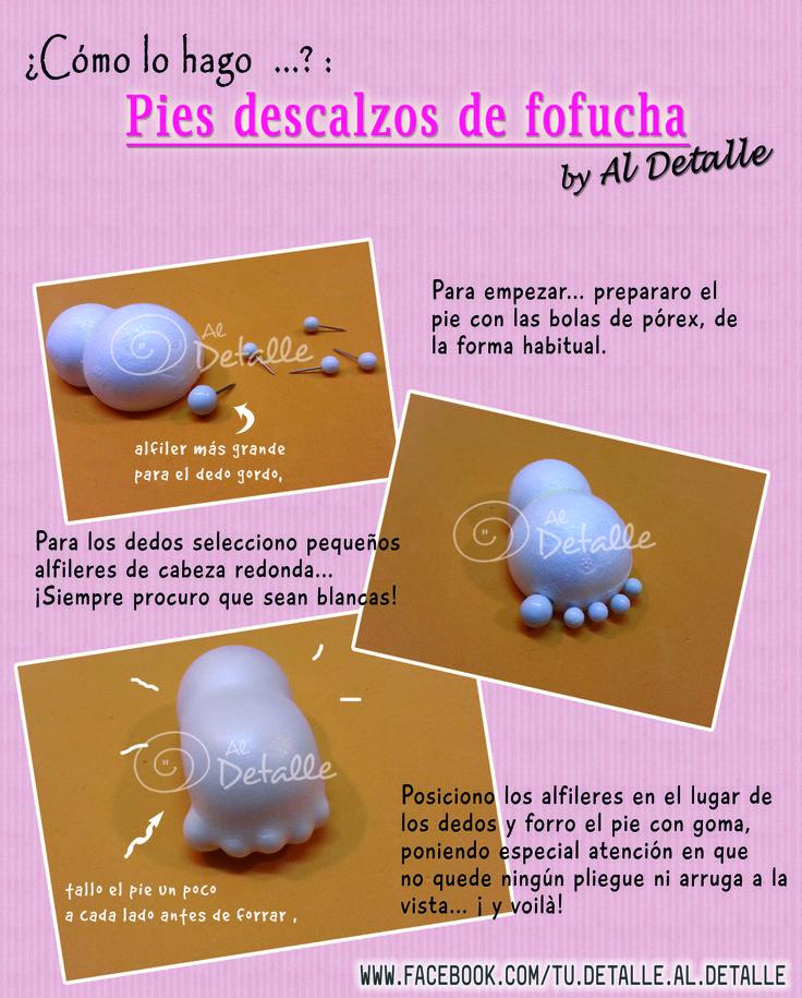 Tutorial: cómo hacer los pies descalzos de fofuchas.  www.facebook.com/tu.detalle.Al.Detalle