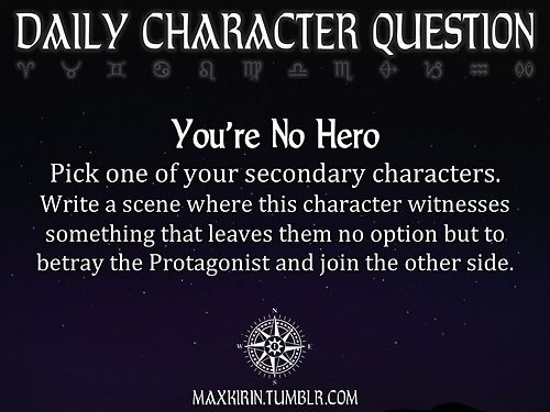 ★ DAILY CHARACTER QUESTION ★  Want to publish a story inspired by this prompt? Click here to read the guidelines~ ♥︎: http://maxkirin.tumblr.com/post/89217719539/i-apologize-if-this-has-already-been-asked-but-would