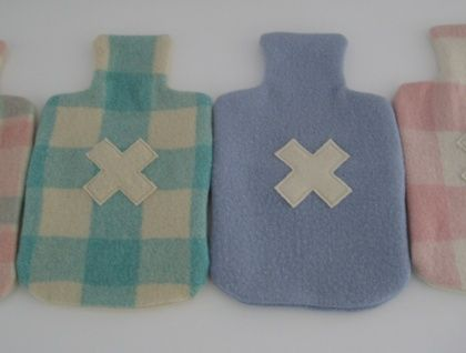 Toasty Warm Up-cycled Hot Water Bottle Cover..... pure wool vintage blanket