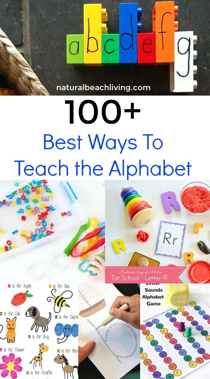 100 of the Best Ways to Teach the Alphabet, Creative ways to teach the alphabet, Hands on Learning, Sensory Play, Printables, Alphabet Games,Alphabet Crafts
