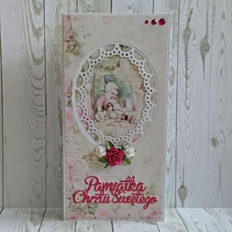 Wyjątkowa karta - pamiątka Chrztu z życzeniami z okazji chrztu dla maluszka. Pięknie wykonana. Atrakcyjna cena.