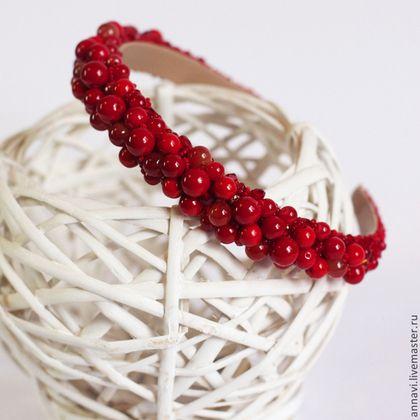 Обруч для волос 002 - ярко-красный,вечернее украшение,ободок для волос