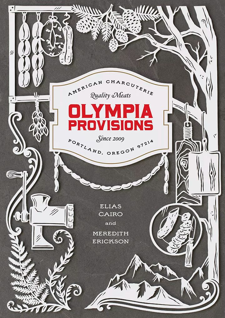 julene harrison, illustrator, illustration, cut out, type, typography, lettering, hand cut, hand drawn, stencil, olympia provisions, book cover, publishing, editorial, advertising, commercial, print, digital, design, decorative, detail