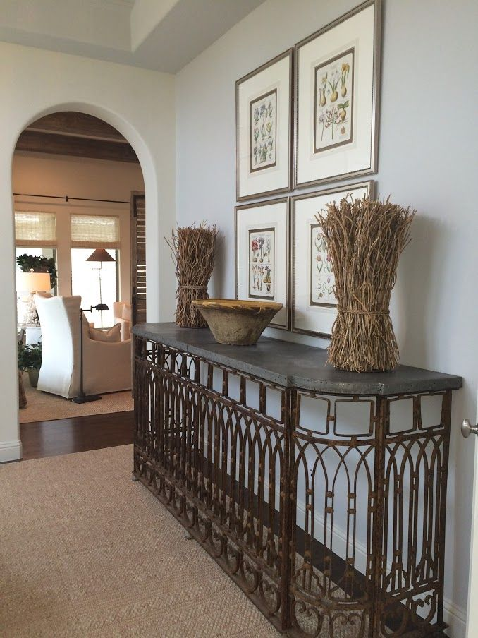 fabulous lisa luby ryan used an antique balcony to create this table topped in zinc with plaque. Black Bedroom Furniture Sets. Home Design Ideas