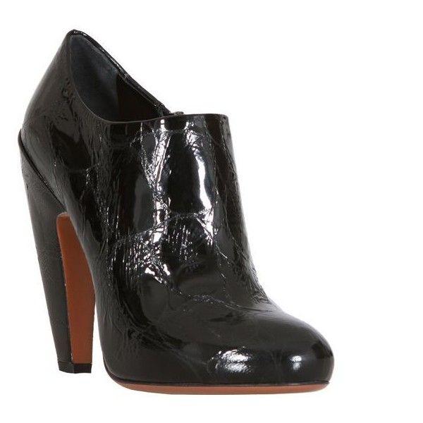 Azzedine Alaïa Black Patent Alligator Style Leather Ankle Booties (755 NZD) ❤ liked on Polyvore featuring shoes, boots, ankle booties, women, black booties, leather boots, black platform booties, black high heel boots and black leather boots