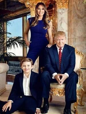 President Donald Trump with wife Melania and son Barron.