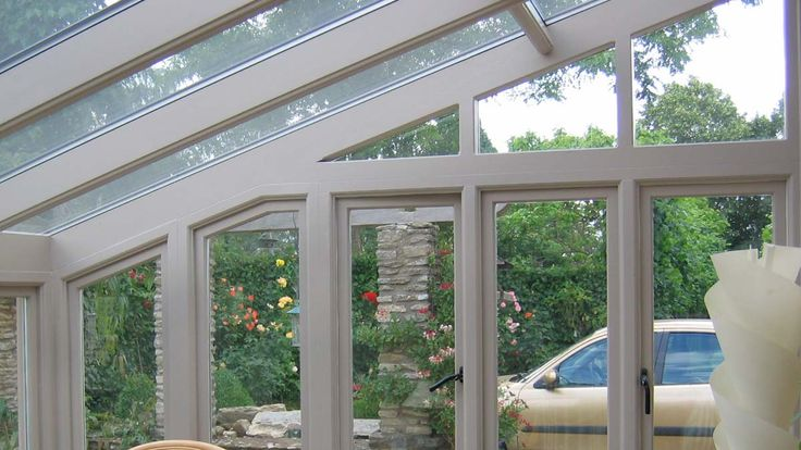 conservatory interior showing lean-to roof timbers