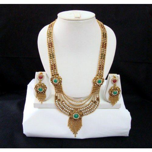Long Rani Haar Red green Golden Indian Bollywood Purple Necklace Earrings Set Jodha