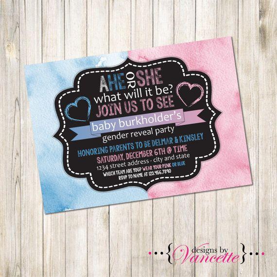 Watercolor Gender Reveal Invitation Gender by designsbyVancette
