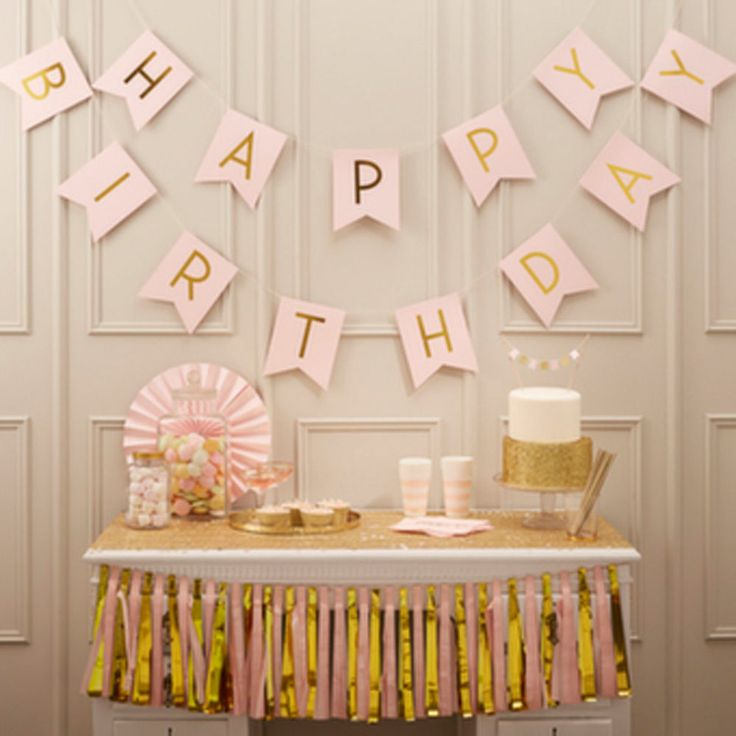 Pastel Pink Happy Birthday Bunting Gold Letters - Birthday Party x 2.5m | eBay