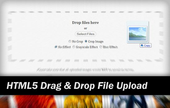 HTML5 drag and drop (dnd) file upload with canvas using Drag and Drop API, HTML5 File API, jQuery Template and CSS3 example with tutorial.