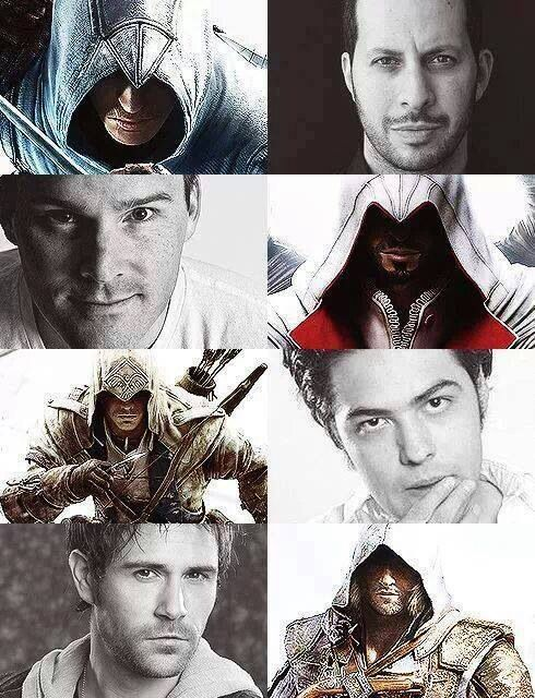 The voices of our beloved Assassin brothers! Altair - Philip Shahbaz (AC 1); Ezio - Roger Craig Smith; Connor - Noah Watts; Edward - Matt Ryan (Is it just me, or does Matt Ryan look like Edward??)