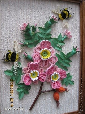 264 best quilling frames images on pinterest paper crafts paper quilled flowers with bumble bees mightylinksfo