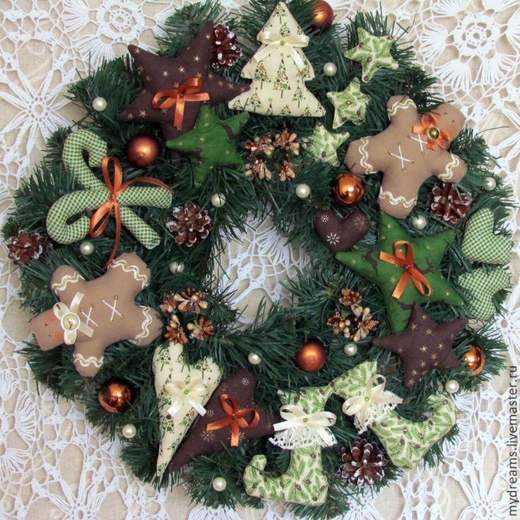 Купить Новогодний венок - тёмно-зелёный, венок, венок на дверь, венок новогодний, венок рождественский