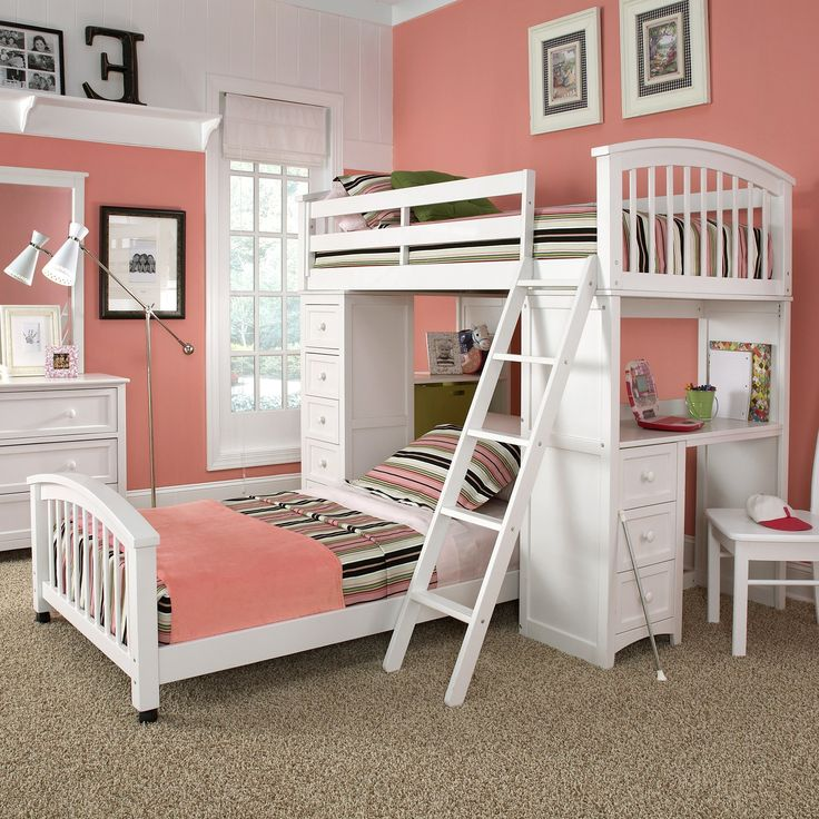 Bedroom. white wooden bunk bed with assorted color stripped bed stripped bed sheet connected with white wooden study table and drawers placed on the brown floor in the peach wall room. Excellent Bunk Bed Ideas For Small Rooms Give More Happiness For Your Children