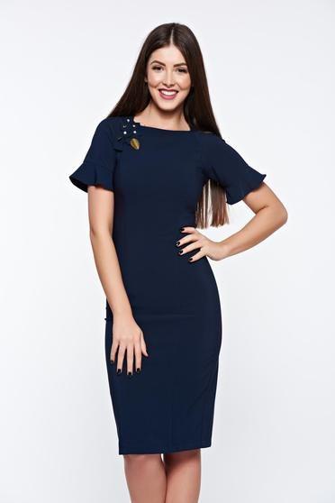 Rochie LaDonna albastra-inchis eleganta captusita pe interior cu aplicatii cusute manual - http://hainesic.ro/rochii/rochie-ladonna-albastrainchis-eleganta-captusita-pe-interior-cu-aplicatii-cusute-manual-16e70e768-starshinersro/
