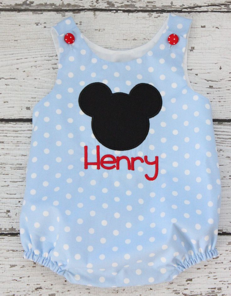 Mickey Monogrammed Bubble, Polka Dot Bubble, Blue Polka Dot Disney Bubble, Boy Polka Dot Bubble by EllieHandmades on Etsy https://www.etsy.com/listing/514704647/mickey-monogrammed-bubble-polka-dot