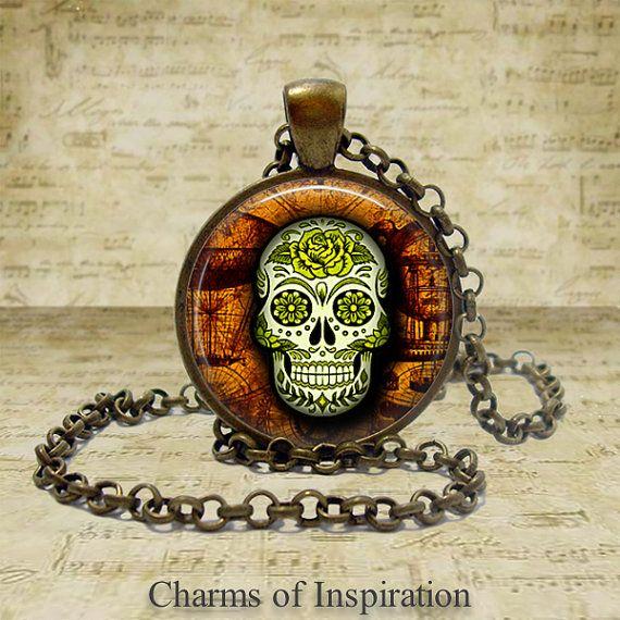 Sugar Skull Necklace Sugar Skull jewelry Sugar Skull Keychain