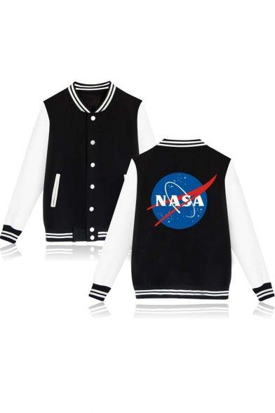 Trendy Single Breasted Contrast Long Sleeve Striped Color Block Trim NASA Print Back Bomber Jacket