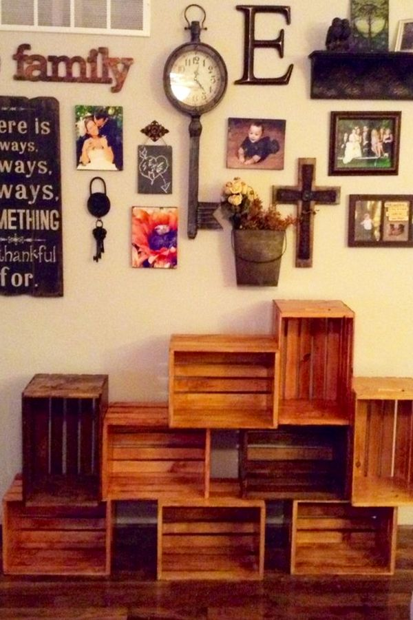 DIY Crate Bookshelves   Stain And Stack Old Wooden Crates To Make A  Bookshelf For Your Home #diyhomedecor #diyroomdecor