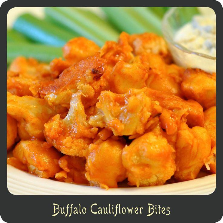 Buffalo Cauliflower Bites  1 head of cauliflower, cut into bite size pieces  1/2 c buttermilk  1/2 c flour  1 tsp garlic salt  1/2 c buffalo sauce (I loveFrank's Red Hot Buffalo Wings Sauce!)    1 tbsp butter, melted    GARNISHES  bleu cheese dressing  celery and/or carrots