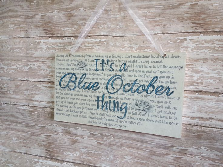 "The perfect gift for the BLUE OCTOBER fan in your life.  * wooden sign measures approximately 6"" X 11"" * the background is painted in an off white shabby chic look for an aged appearance. * distressed look so it will appear lighter & faded in some areas. * your choice between fear or calling..."