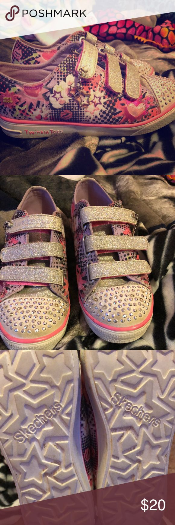 Skechers Twinkle Toes Pink sparkly shoes that light up with each step. Lightly used, maybe worn 3 times at most. Skechers Shoes Sneakers