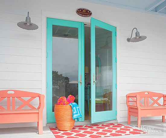 Beachy Brights Bright, clear colors (such as the turquoise blue, tangy orange, and coral pink on this porch) bring up thoughts of the beach and all of its hot-hued accessories: towels, umbrellas, sandals, swimsuits, and hats. Keep these colors from overheating by giving white most of the real estate.