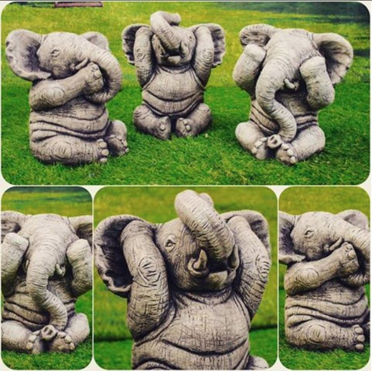 Superb EXCLUSIVE Three Wise Elephants Hand Made In The UK Garden Ornaments