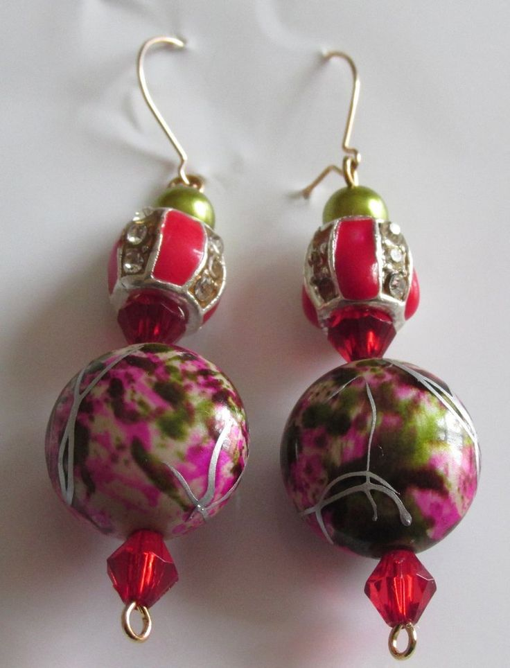 Olive Green ,Red and pink abstract earrings