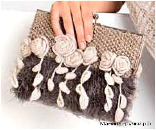 Вязаный спицами клатч с розами (knitting bag with roses)